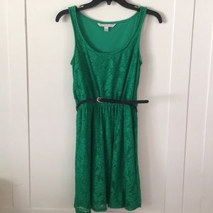 Lauren Conrad Belted Lace Green Sundress XS